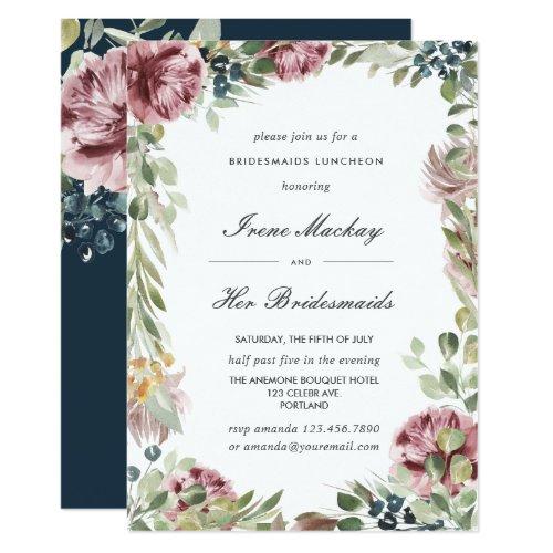 Anemone Blush Blue Botanical  BRIDESMAIDS LUNCHEON Invitation