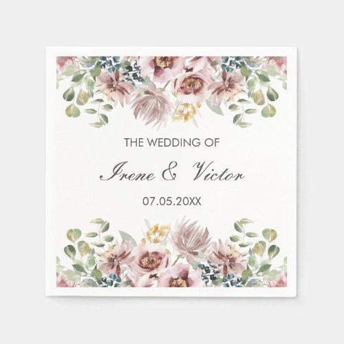 Anemone Blush | Dusty palette custom wedding Napkin