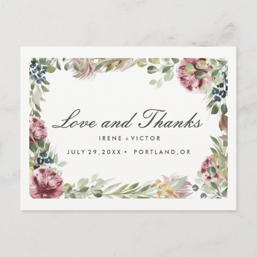 Anemone Blush Floral Chic Post WEDDING thank you Announcement Postcard