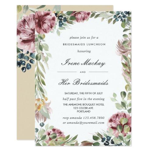Anemone Blush Pink Botanical  BRIDESMAIDS LUNCHEON Invitation