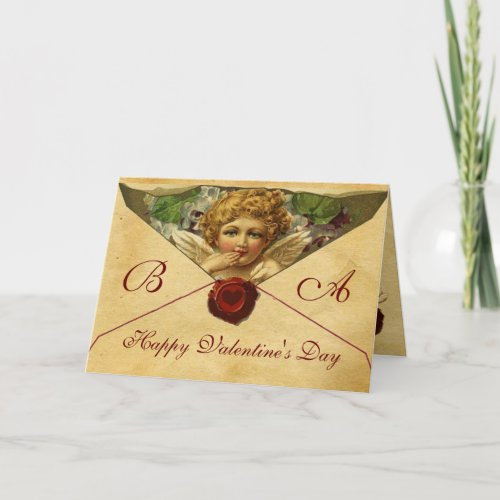 ANGEL HEART WAX SEAL PARCHMENT VALENTINE MONOGRAM HOLIDAY CARD