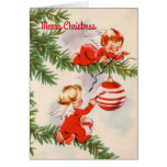 Angels Decorating the Christmas Tree Card