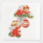 Angels Decorating the Christmas Tree Paper Dinner Napkin