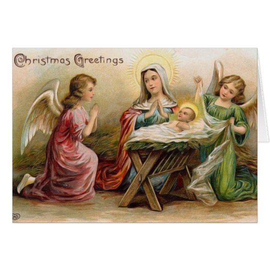 Angels With Baby Jesus In The Manger Vintage Image Card