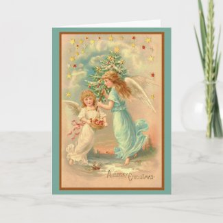 Angels with Christmas Tree card