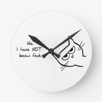 Angry Cat has NOT been feed Round Wallclocks