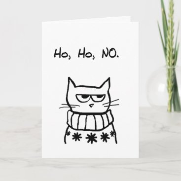 Angry Cat in a Christmas Sweater - Funny Cat Xmas Holiday Card