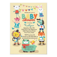 Animal Cuties Celebrate Baby Shower Invitation