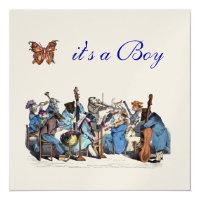 ANIMAL FARM ORCHESTRA BUTTERFLY BOY BABY SHOWER CARD