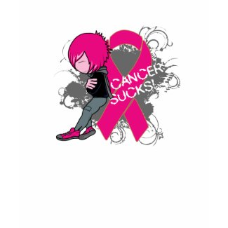 Animated Boy Cancer Sucks - Breast Cancer shirt