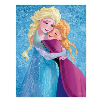 Anna and Elsa Hugging Post Card