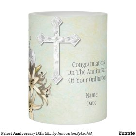 Anniversary Of Ordination Priesthood Personalized Flameless Candle