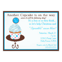 Another Cupcake Baby Sprinkle Invitation (Blue)