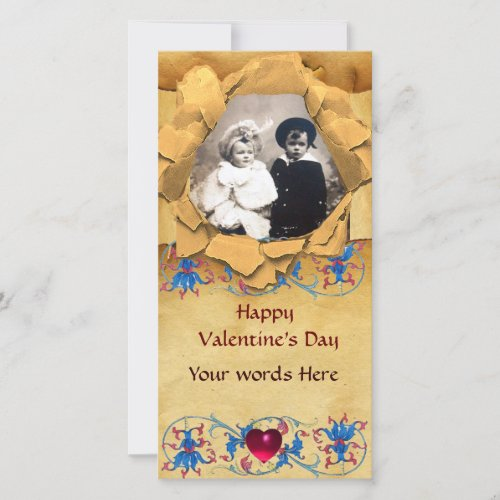 ANTIQUE FLORAL AND HEART VALENTINE DAY PARCHMENT HOLIDAY CARD