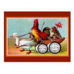 Vintage Spring Day Fun Duck & Chickens Postcard
