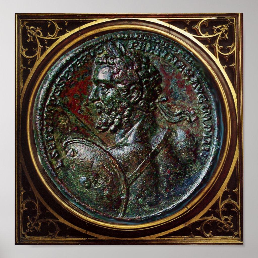 ANTIQUE ROMAN BRONZE MEDALLION SEPTIMUS SEVERUS POSTER