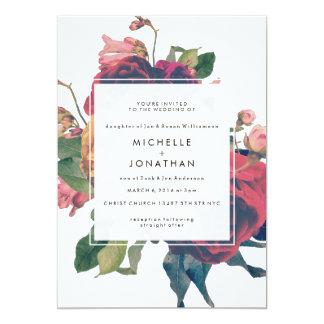 Fl Invitation For Garden Wedding Antique Roses Vine Boho