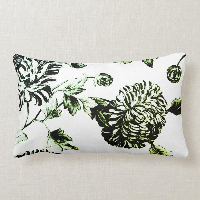 antique white black green botanical toile no 2 lumbar pillow zazzle com