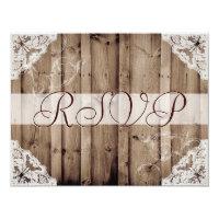 Antique White Lace Wedding RSVP 4.25x5.5 Paper Invitation Card