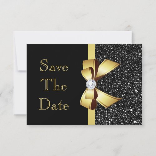 Any Age Birthday Save The Date Black and Gold