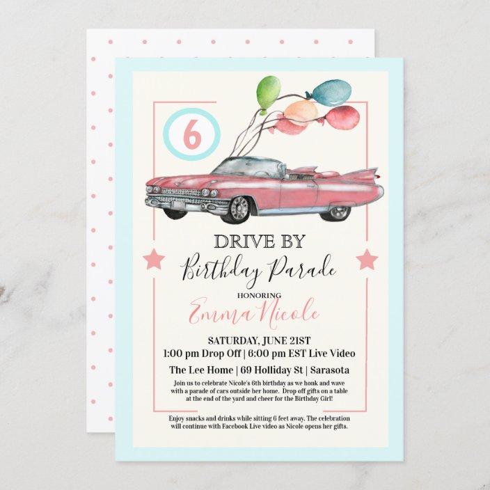 any age drive by virtual girl birthday party invitation zazzle com