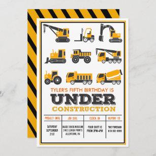 construction party invitations zazzle