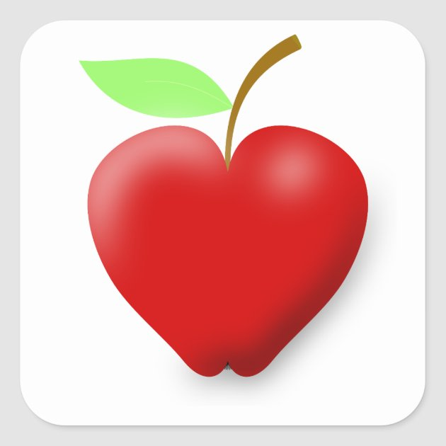 Download apple-148455 RED HEART SHAPED APPLE VECTOR FRUIT H Square ...