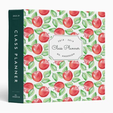 Apple Pattern Personalized Teacher 3 Ring Binder