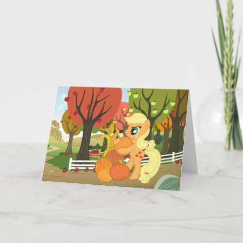 Applejack with Pumpkins Card