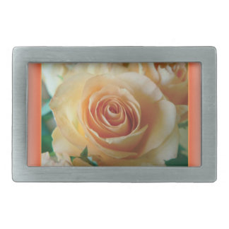 Apricot Rose Blur Rectangular Belt Buckles
