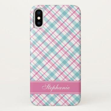 Aqua and Pink Plaid Pattern iPhone XS Case