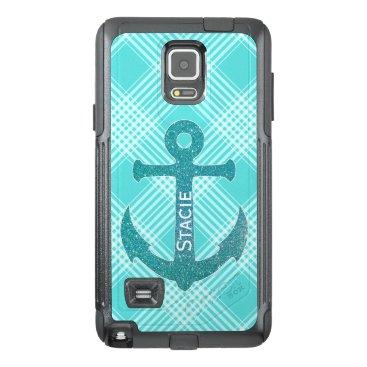 Aqua Blue Anchor Otterbox Samsung Note 4 Case