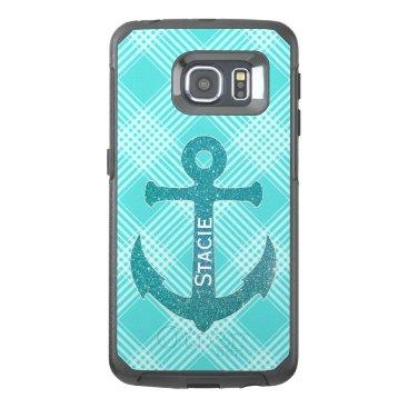 Aqua Blue Anchor Otterbox Samsung S6 Edge Case