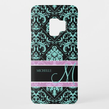 Aqua Blue and Black Damasked with monogram Case-Mate Samsung Galaxy S9 Case