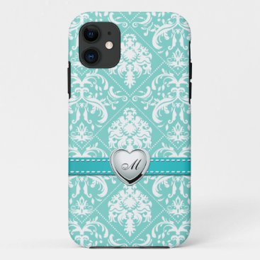 Aqua Blue and White Damask Pattern with Monogram iPhone 11 Case