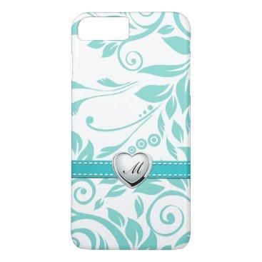 Aqua Blue and White Damask Pattern with Monogram iPhone 7 Plus Case