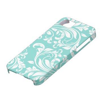 Aqua Blue and White Damasked Pattern iPhone SE/5/5s Case