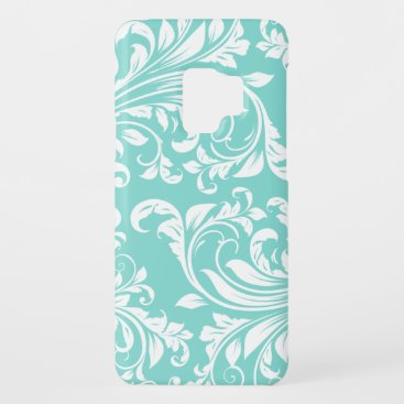 Aqua Blue and White Damasked Pattern Case-Mate Samsung Galaxy S9 Case