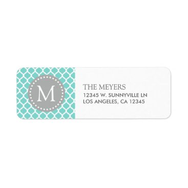 Aqua Blue and White Moroccan Pattern with Monogram Label