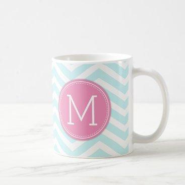 Aqua Blue Chevron Pattern with monogram Coffee Mug