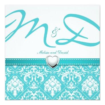 Aqua Blue Damask with Personalized Monogram Invitation
