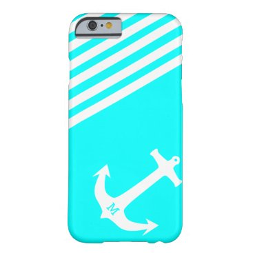 Aqua Blue Nautical Anchor with Monogram Barely There iPhone 6 Case