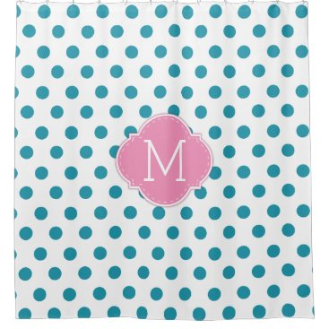 Aqua Blue Polka-Dots with personalized Monogram Shower Curtain