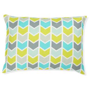 Aqua Blue Yellow Gray Geometric Chevron Pattern Large Dog Bed