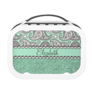 Aqua Glitter Paisley Rhinestone Print Pattern Lunchbox