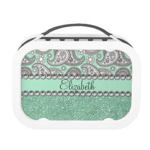 Aqua Glitter Paisley Rhinestone Print Pattern Lunch Boxes
