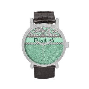 Aqua Glitter Paisley Rhinestone Print Pattern Wristwatch
