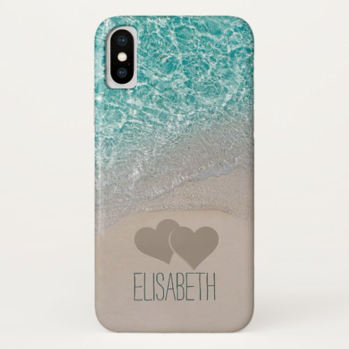 Aqua Ocean Sand Carved Hearts Add Name iPhone X Case