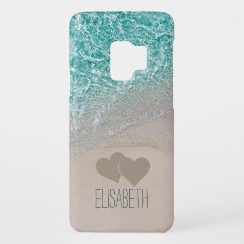 Aqua Ocean Sand Carved Hearts Add Name Case-Mate Samsung Galaxy S9 Case