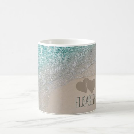 Aqua Ocean Sand Carved Hearts Add Name Coffee Mug